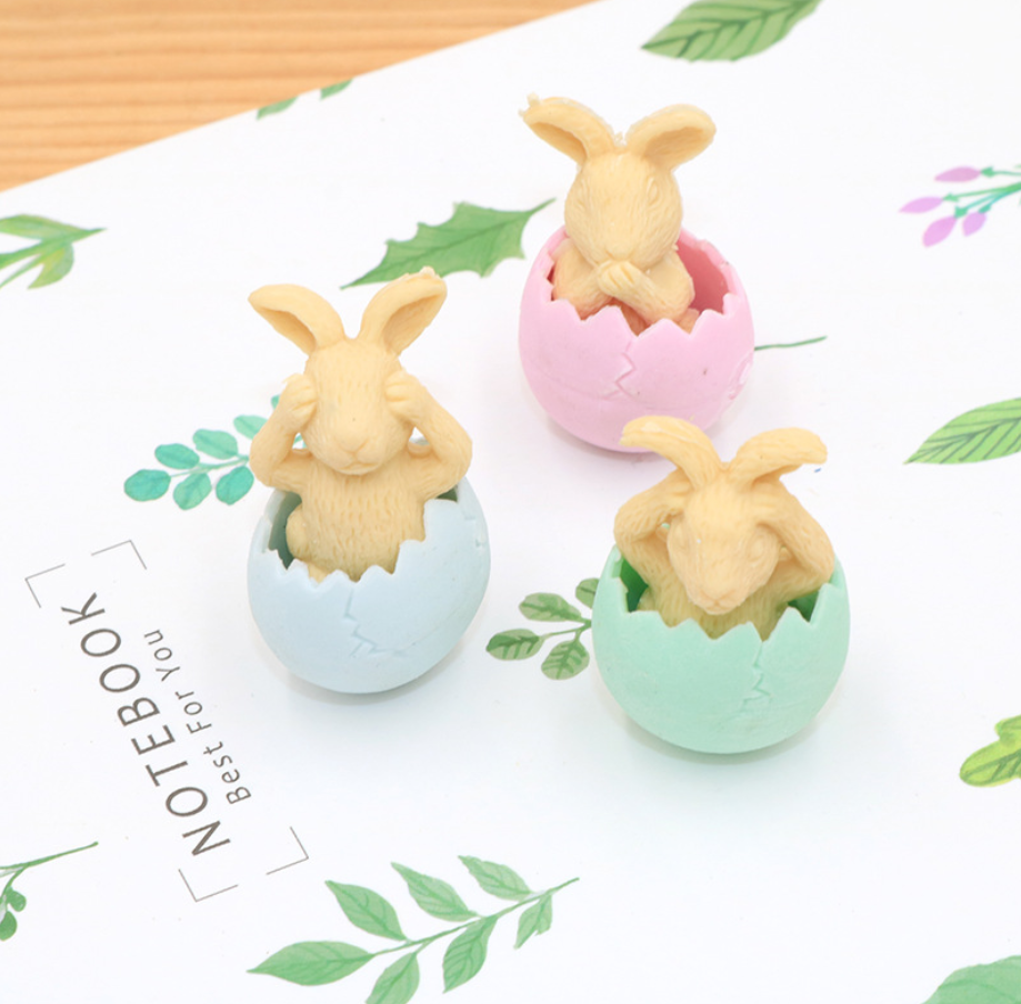 2PCS Baby Rabbit Rubber Pencil Eraser Stationary School Supplies Items Kawaii Office Creative Cartoon Kids Gift Students Prizes