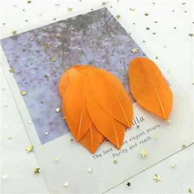 Натуральные гусиные перья 4-8 см, многоцветные белые перья, поделки своими руками, украшения для свадебной вечеринки, аксессуары, 50 шт - Цвет: orange 50pcs