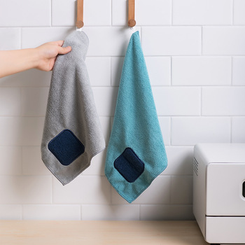 2pcs/lot Hanging Scouring Pad Rag Super Absorbent Fiber Rag Kitchen Thicken Dishwashing Cloth цена 2017