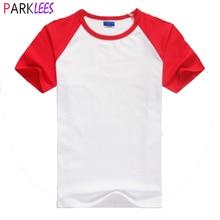 Baseball T-Shirt Tee Short-Sleeve Neck-Tops Cotton Women Brand Summer Casual Homme Red