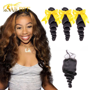 Image 1 - loose Wave Bundles With Closure 4*4 6*6 Lace Closure Brazilian 180% density Hair Weave Bundles With 4*4 Closure hair wig