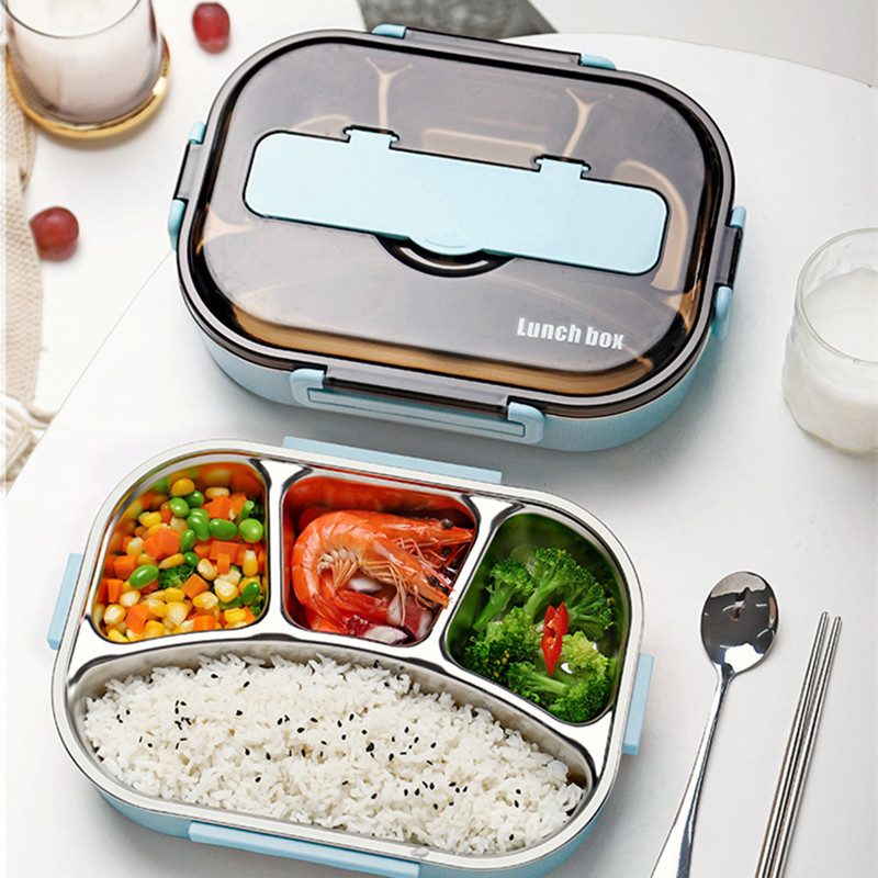Image 2 - Bento Lunch Box Food Container for Child 304 Stainless Steel Box Kitchen Leak proof Food Container Send  Dinnerware Set-in Lunch Boxes from Home & Garden