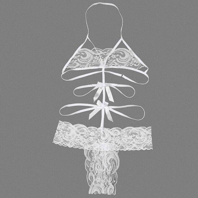 Kobiety seksowne koronkowe odsłonięte piersi łuk bielizna nocna pani seksowna bielizna erotyczna gorący przezroczysty połączony strój Sex zabawki