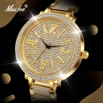 MISSFOX Luxury Brand Men Watch Gold Classic Fashion Bling Diamond Male Quartz Watches Big Number Waterproof New Arrive