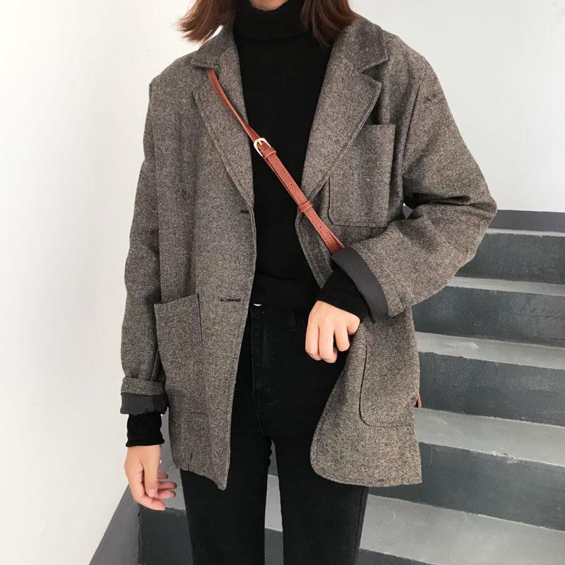 2019 Women Autumn Winter Casual Loose Vintage Herringbone Blazer Coat Jacket