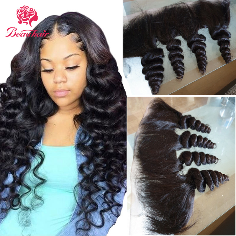 Human Hair Lace Frontal 13x4 Loose Wave Lace Frontal Brazilian Human Hair Bundles Remy Hair Extensation Natural Color Beauhair