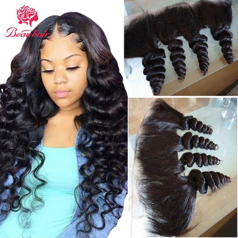Human Hair Lace Frontal 13x4 Loose Wave Lace Frontal Brazilian Human Hair Bundles Remy Hair Extensation Natural Color Beauhair