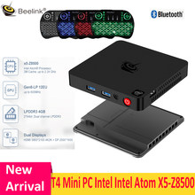Beelink T4 Mini PC Int Atom X5 - Z8500 HD Graphics 600 4 ГБ ОЗУ + 64 Гб 2,4 ГГц + 5,8 ГГц Wi-Fi 1000 Мбит/с USB3.0 BT4.0 поддержка 4K ТВ-приставки
