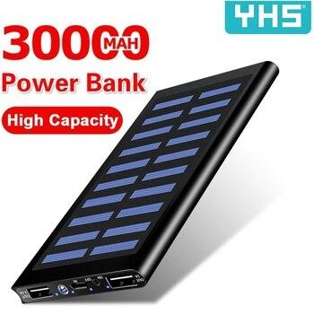 Solar 30000mah Power Bank External Battery 2 USB LED Powerbank Portable Mobile phone Solar Charger for Xiaomi mi iphone Samsung