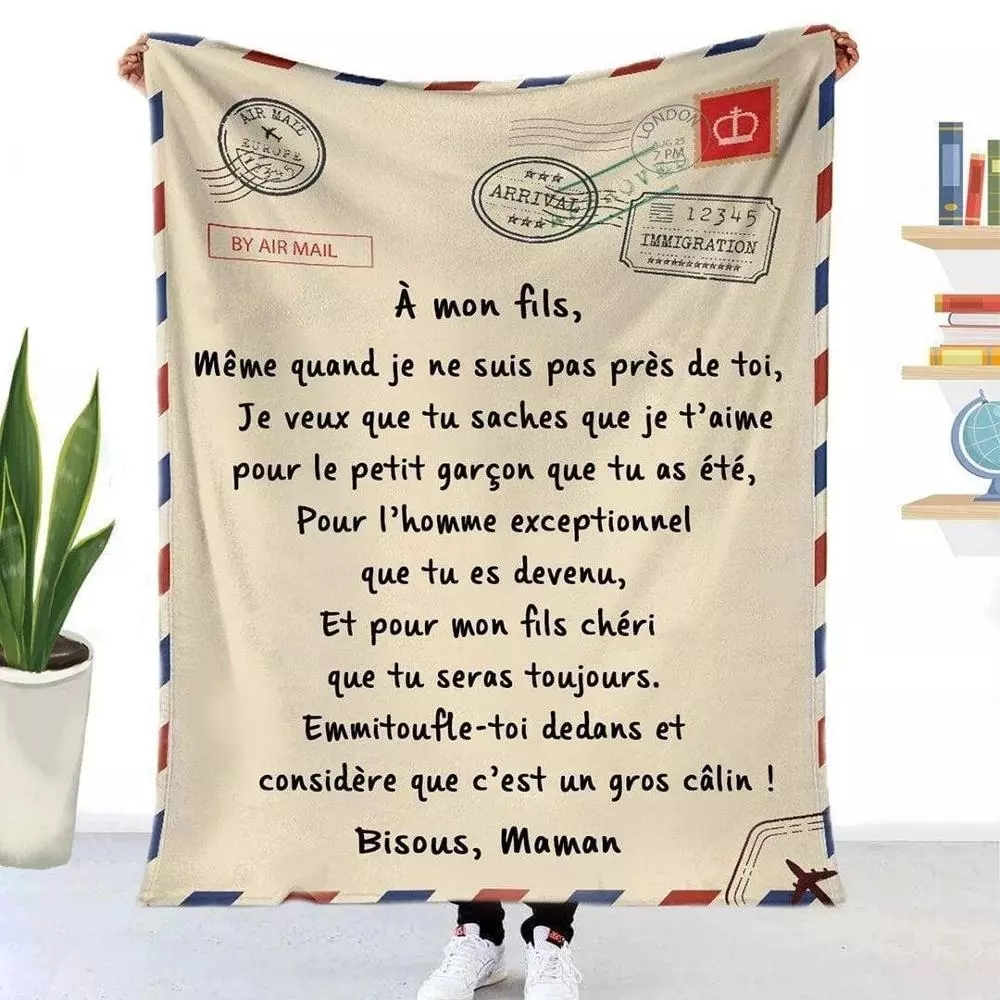 Flannel Blanket Air Mail 3D Printing Sofa Keeping Warm Children Blanket Home Textile Spanish and French Letter Printing Quilt-2
