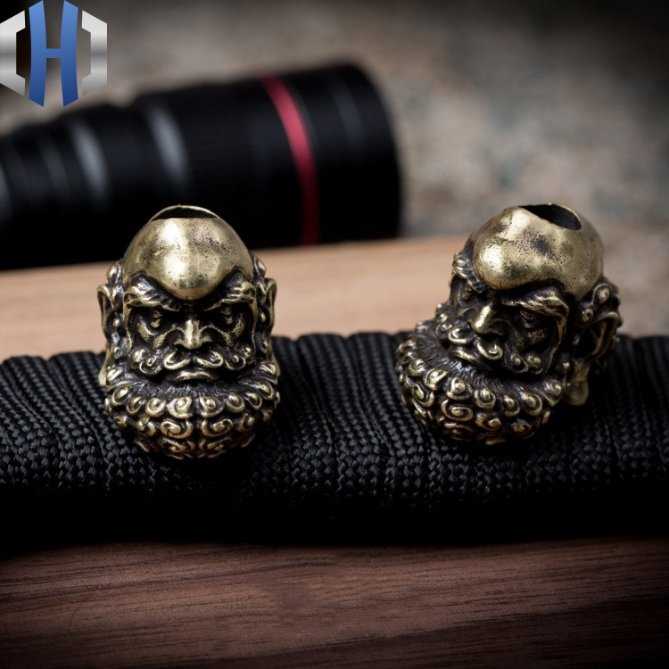 Original Bearded Dharma Knife Beads Personality Handmade Key Pendant Outdoor EDC Copper Paracord Beads