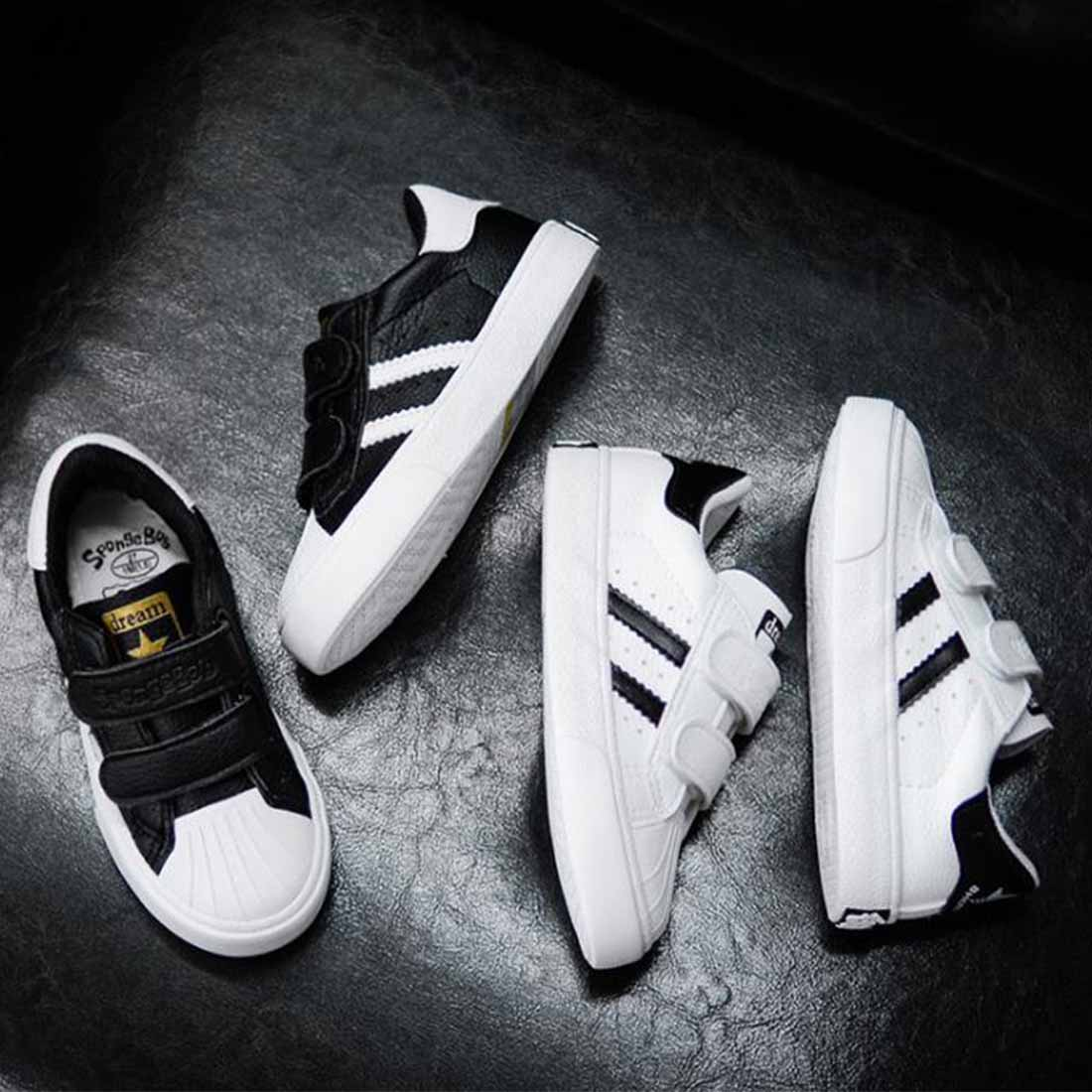 Kids Leather Shoes Girls Casual Shoes Summer Black White Boys Leisure Shoes Comfortable Simple Fashionable Design