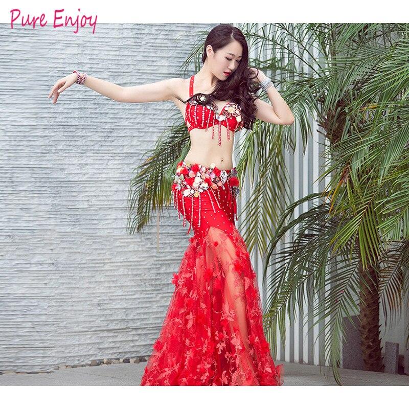 Women's Belly Dance Suit Spandex Belly Dance Set Dress Belly Dancing Sexy Bra Fishtail Dress Set