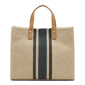 Image 4 - حقيبة نسائية جديدة حقيبة يد نسائية من القش حقائب كبيرة للنساء 2019 جديدة اللون مطابقة النسيج BigHandbag موضة مثير غير رسمي