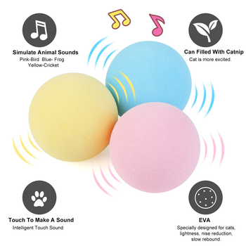 Smart Cat Toys Interactive Ball Catnip Cat Training Toy Pet Playing Ball Pet Squeaky Supplies Products Toy for Cats Kitten Kitty 3