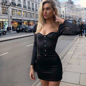 Image 4 - Hugcitar 2020 satin long sleeve patchwork sexy mini dress spring women party elegant outfits streetwear solid dresses