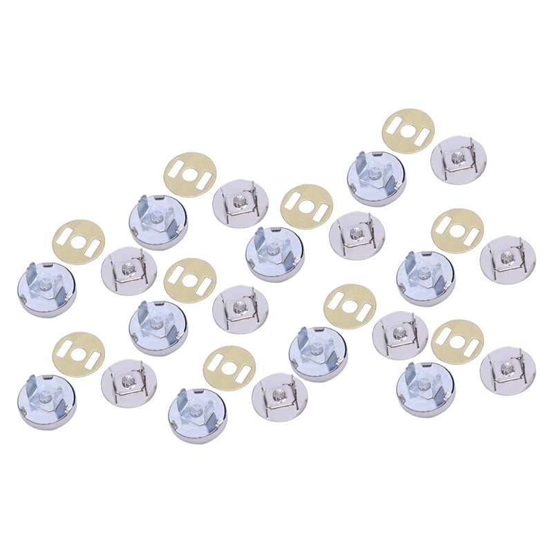 DIY Magnetic Circular Clasp For Bag Purse Clothes (Silver,Set Of 10)