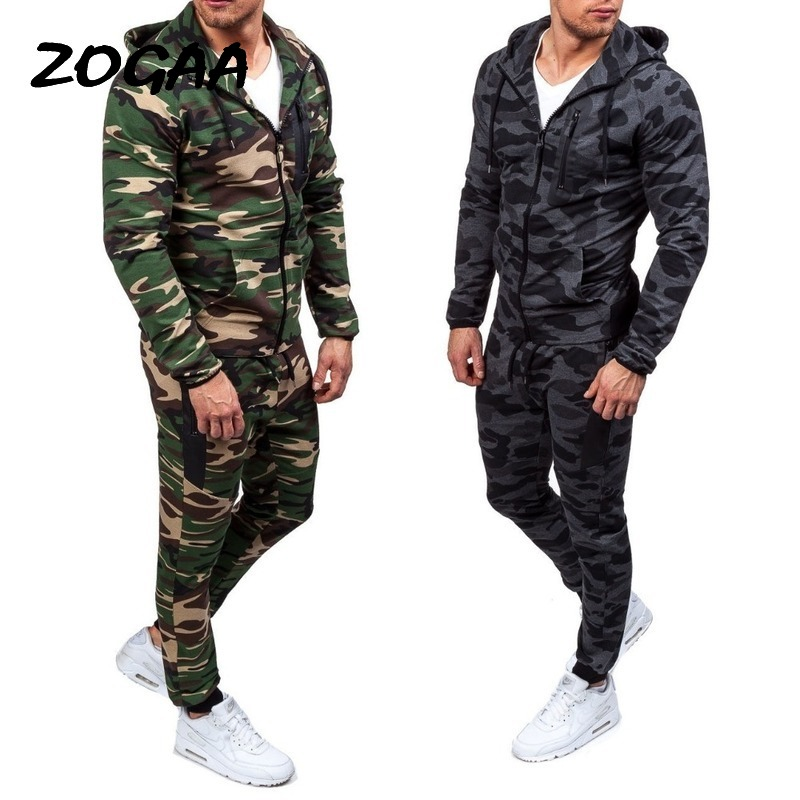 ZOGAA 2020 Camouflage Jackets Set Men Camo Printed Sportwear Male Tracksuit Top Pants Suits Hoodie Coat Trousers Autumn Winter