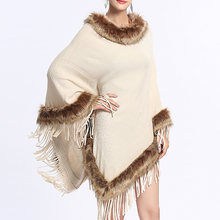 Office Elegant Cape Pullover Fox Fur Tassel Cape Women Winter Knitted Loose Cloak White Boho Poncho Capes Shawl Sweater Coat(China)