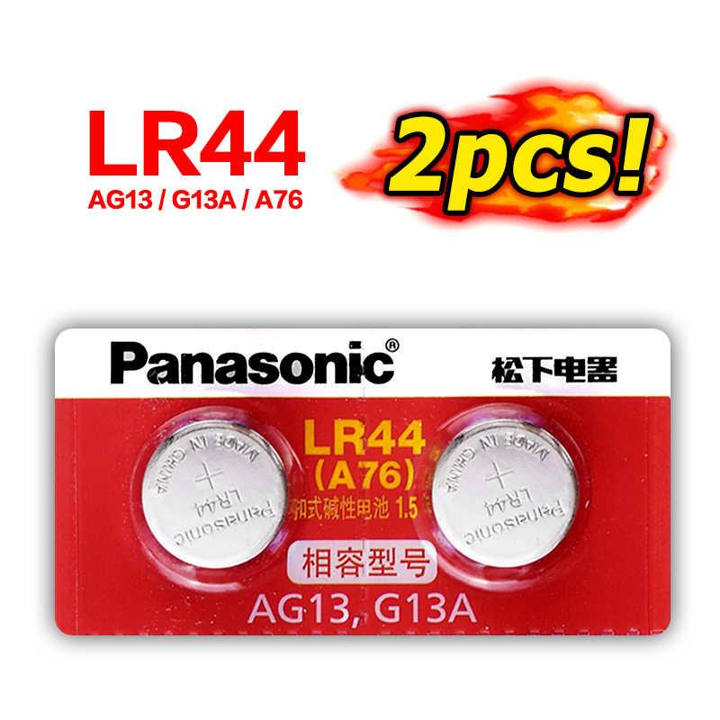 باناسونيك 2 قطعة LR44 AG13 LR 44 ساعة بيلاس ساعة زر عملات بطاريات 120mah خلية الزنك للمساعدة في السمع لعبة التحكم عن بعد