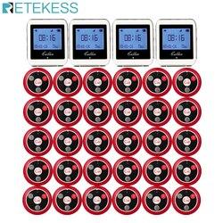 Retekess garçom sistema de chamada sem fio para restaurante serviço pager sistema pager convidado 4 assista receptor + 30 botão chamada f3288b