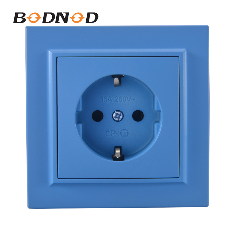 Original One Socket Blue With Ground Euro Wall 250V 16A Power Supply Wall Mount Charger Decorative Socket Legrand Livolo(China)