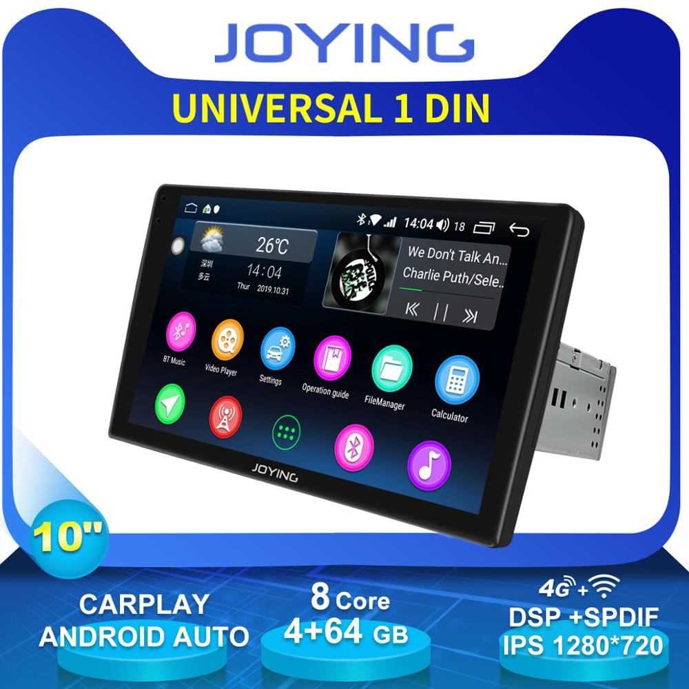 JOYING 10.12.5D IPS Android Car Radio Stereo Single 1 Din Head Unit Multimedia NO DVD Player Wifi 4G Module Carplay DSP DVR image