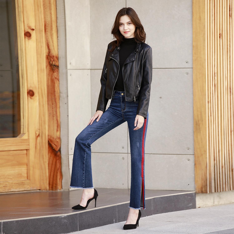 Map Fish 2019 Autumn New Style Europe And America WOMEN'S Dress Ribbon Trim Jeans Slit Loose Pants Straight-Cut Long Pants