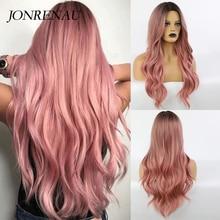 JONRENAU-pelucas rosas ombré de raíz oscura sintético ondulado largo, Cosplay para mujeres blancas y negras, pelucas de pelo de fibra de colores, Alta Temperatura