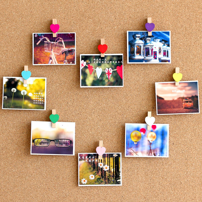 20pcs Wooden Clips Pushpins Colored Thumbtacks Push Pins For Cork Board Creative Message Board Photo Wall Decorative Note Clips