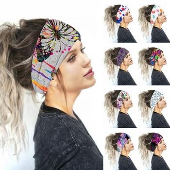 2020 Floral Print Turban Knot Headwrap Sports Elastic Yoga Hairband Fashion Cotton Fabric Wide Headb