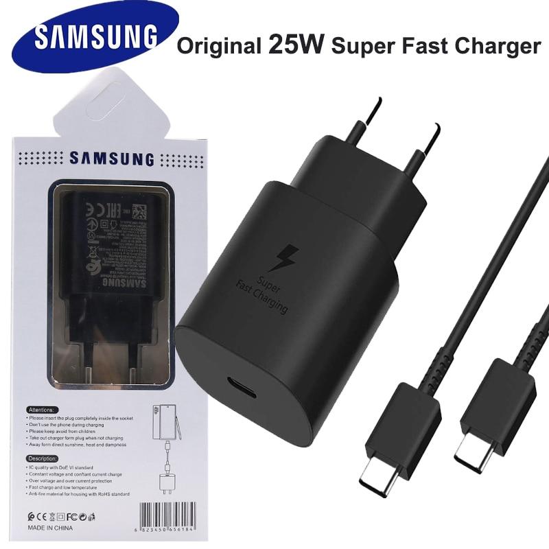 Зарядное устройство для Samsung Galaxy S21 Note 20 10 Ultra S20 A70s 25 Вт с европейской вилкой и поддержкой быстрой зарядки