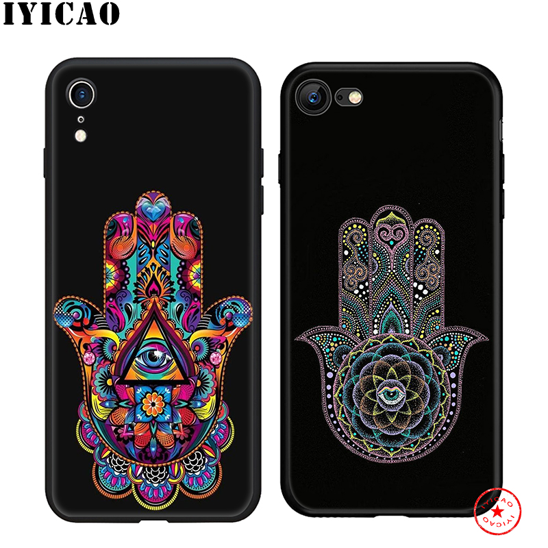 IYICAO Hamsa Hand of Fatima Soft Phone Case for iPhone 11 Pro XR X XS Max 6 6S 7 8 Plus 5 5S SE Silicone TPU 7 Plus in Fitted Cases from Cellphones Telecommunications