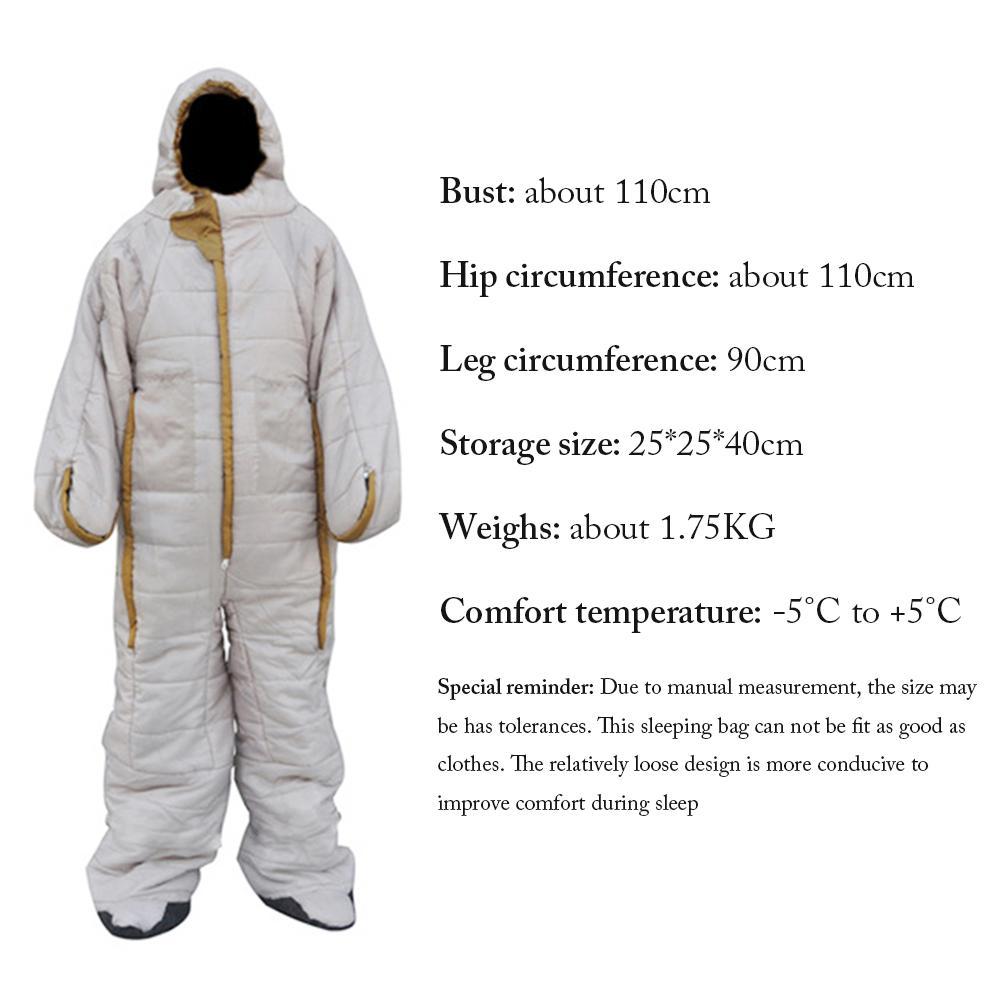 Спальный мешок в форме человека для альпинизма, удобный на молнии для путешествий, кемпинга, походов, аксессуаров, спальный мешок для палато... - 6