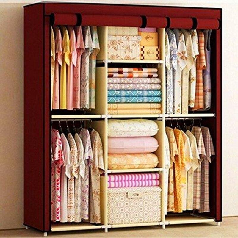 Большой шкаф для хранения портативная двойная домашняя мебель платяной шкаф для одежды стабильный шкаф