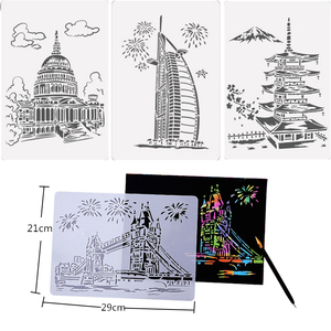 5 Pcs Magic Scratch Art Doodle Pad Sand Painting Cards Early Educational Learning Creative Drawing Toys for Children Kids Craft