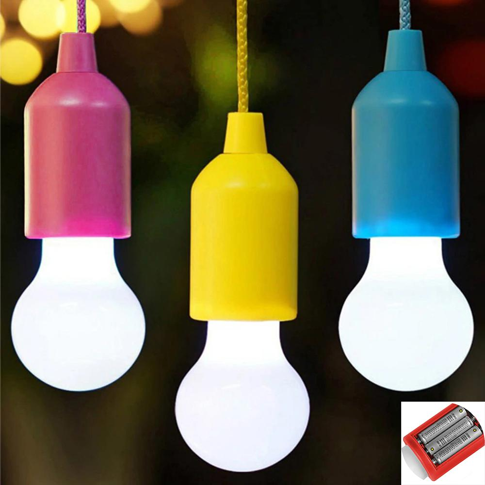 7 Shell Colors Pull Light Bulb LED Hanging Light Bulb Battery Powered Colorful Pull Cord Bulbs White Light 3xAAA Batterie