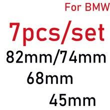 7 pçs carro adesivos de direção emblema kit capa dianteira emblema capa traseira tronco tampa do centro da roda do carro 82mm 74mm 68mm 45mm fibra carbono