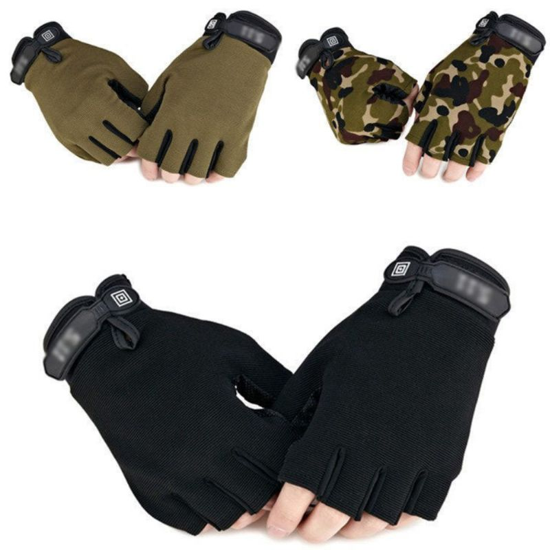 Men Camouflage Tactical Gloves Outdoor Sport Cycling Half Finger Anti-Slip Shock-Absorbing Fitness Fingerless Mittens Warmer