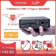 Topton новейший мини ПК для виски Lake Intel Core i7 8565U Win10 Pro DDR4 настольный компьютер HDMI2.0a DP1.2 Type c AC WiFi BT