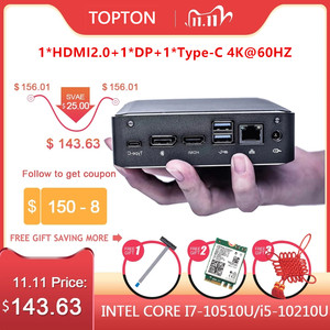 Image 1 - Topton Newest Mini PC Whiskey Lake Intel Core i7 8565U/I5 8265U Win10 Pro DDR4 Desktop Computer HDMI2.0a DP1.2 Type c AC WiFi BT