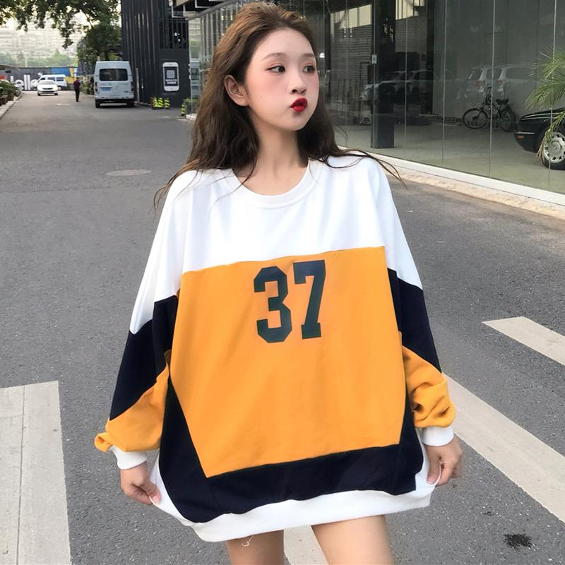 Plus Size Print Hoodies Sweatshirt Women Autumn Kpop Streetwear Oversized Hoodie Korean Style Batwing Tops Sweatshirts 2019