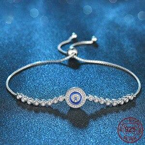 Image 4 - TONGZHE yaz koleksiyonu mavi şanslı göz bilezik 925 som gümüş bileklikler Charm temizle CZ kadınlar erkekler için güzel takı