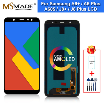 Super AMOLED For Samsung Galaxy A6 Plus 2018 LCD Display Touch Screen Digitizer Replace Parts For A605 A6+ A605F A605FN LCD