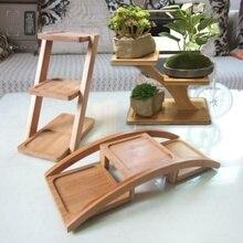 Полка для заземления маленького размера подоконник три слоя маленький мини-цветок провинции пространство твердой древесины чайный столик экономичный тип