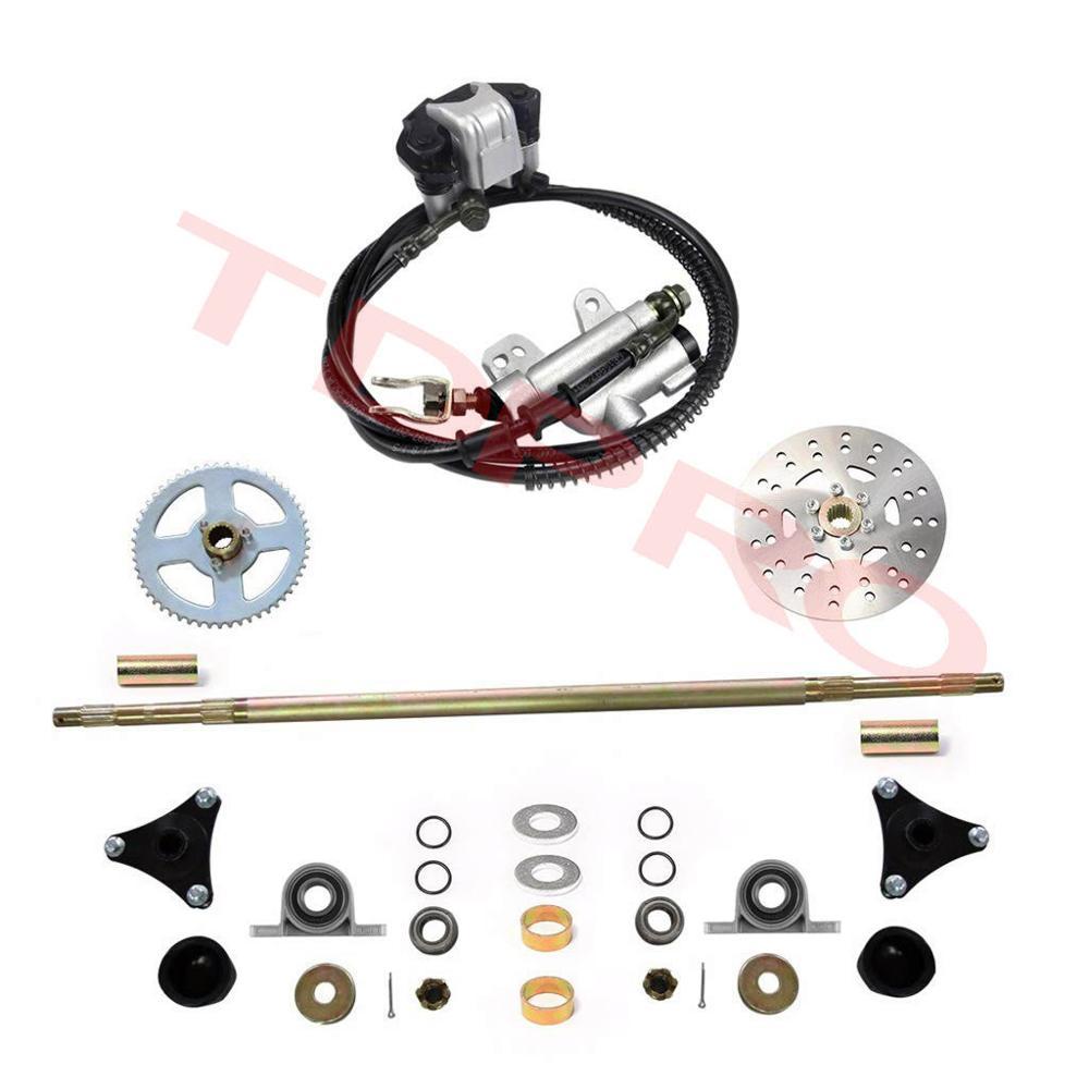 740mm Go Kart Rear Axle Assembly Wheel Brake Kit Master Hub Disc Rotor T8F Chain Sproket For Mini Kid ATV QUAD Drift Trike Buggy