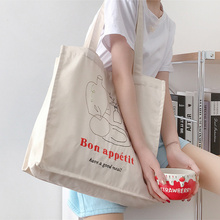 Women Canvas Shopping Bag Bon Appetit Books Bag Female Cotton Cloth Shoulder Bag Eco Handbag Tote Reusable Grocery Shopper Bags