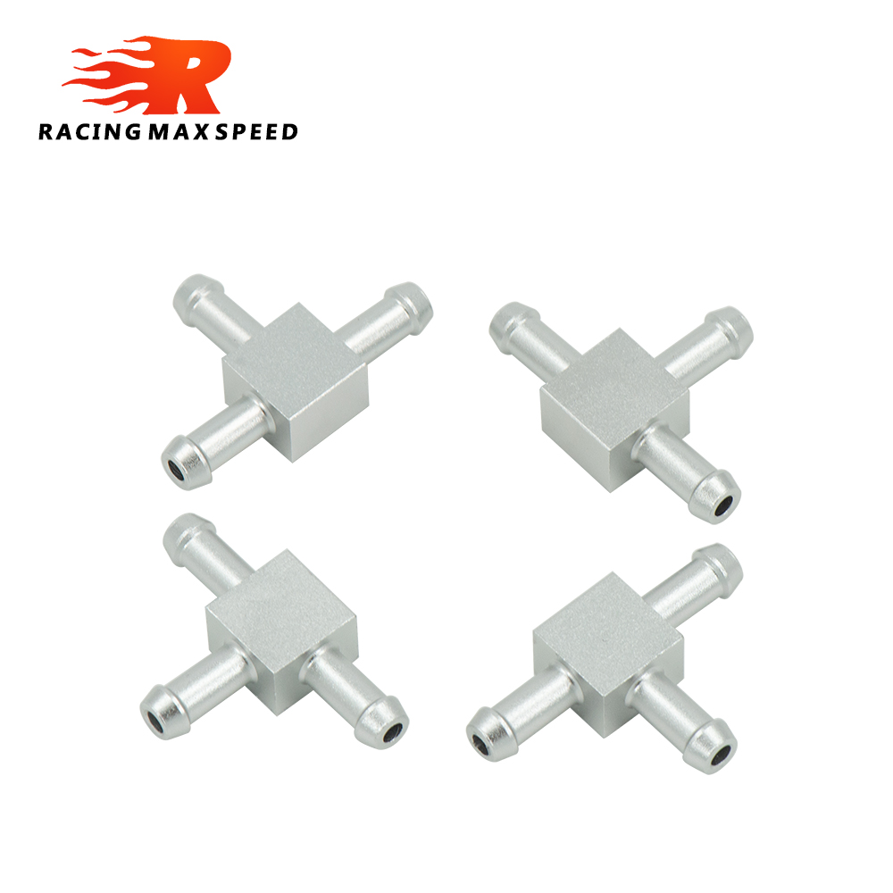 4pcs High Quality Aluminum Alloy 6mm 3 Way T Tubing Tee Vacuum Connector water air pipe Joiner Silver color