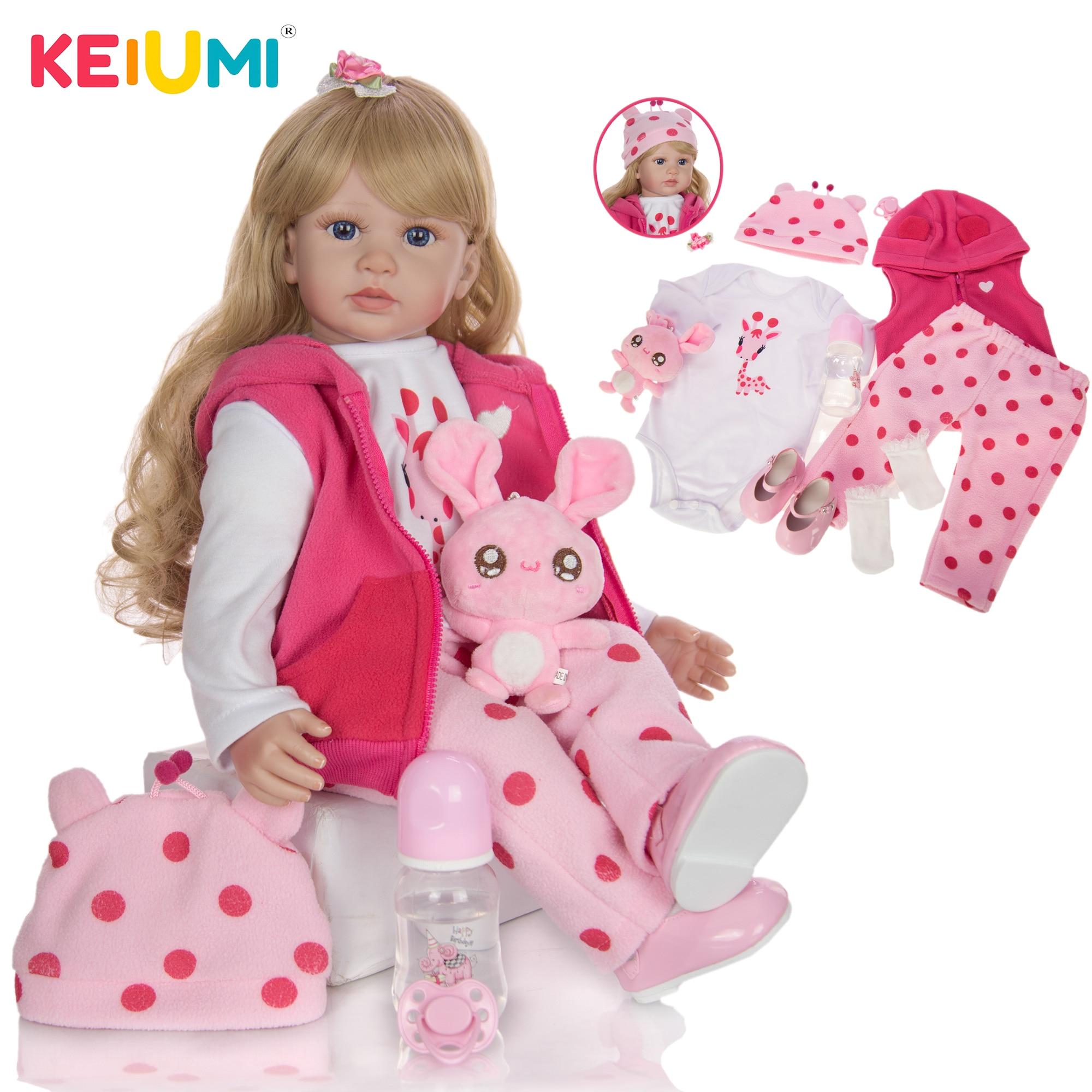 KEIUMI 24 дюйма милые куклы Reborn для малышей 60 см мягкие тканевые виниловые золотые локоны для тела Детские куклы Reborns игрушки для подарка на день...