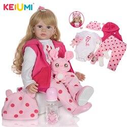 KEIUMI Bebê Reborn Loira Cachos 60cm Grande Realista Linda Corpo Tecido Urso Sapatinho Desconto Barata Dia Crianças Natal Paraná